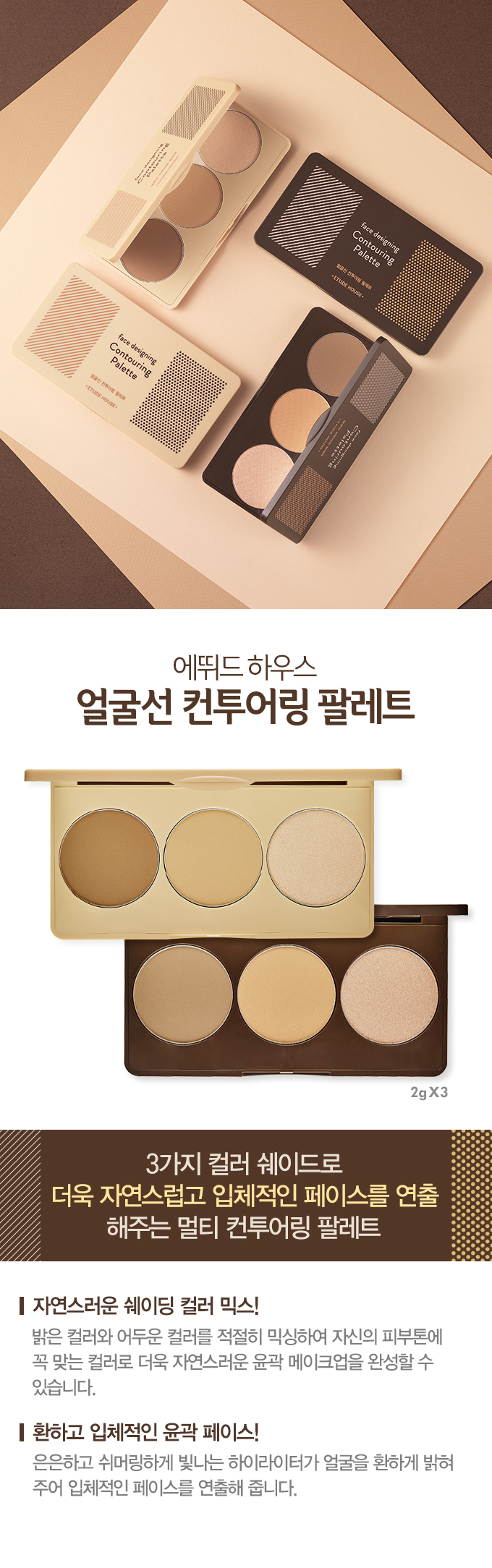 Etude Face Designing Contouring Palette 2gx3 No.1 Gold Brown